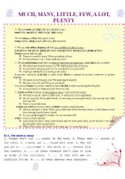 English Worksheet: Much, many, little, few, a lot, plenty  (2 pages) with theory and different ex-s