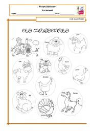 English Worksheets: Old Macdonald - picture dictionary
