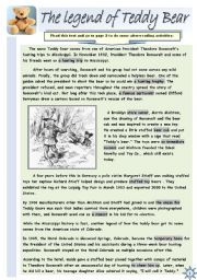 English Worksheets: THE LEGEND OF TEDDY BEAR- READING COMPREHENSION (2 pages + 2 pages of B&W version)