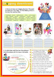 English Worksheets: Shopping downtown  - Vocabulary + language functions used  while shopping