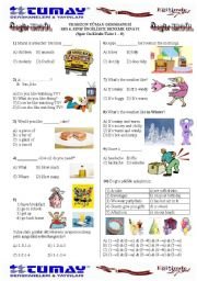English Worksheet: SBS Revision TEST for 6th grade Unit 1-8 (First Semester)