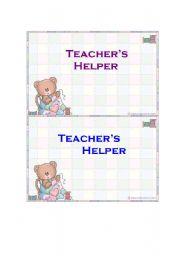 English Worksheets: Teacher�s helper