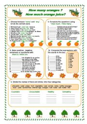 English Worksheet: How many oranges?How much orange juice?