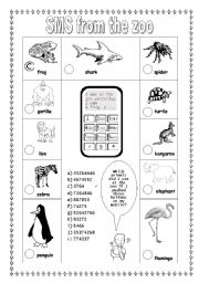 English Worksheet: SMS from the zoo  (2/2) (easier)