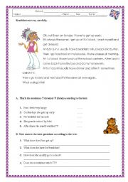 English Worksheet: Written test on daily routines