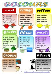 COLOURS! - CLASSROOM POSTER FOR YOUNG LEARNERS