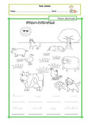 English Worksheets: Farm Animals - tracing handout