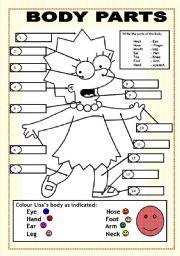 English Worksheet: BODY PARTS (LISA SIMPSON)