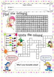 English Worksheet: Colours - wordsearch & crosswords