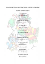 English Worksheet: frosty the snowman-song activity