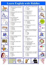 English Worksheet: Riddle quiz to entertain your students!