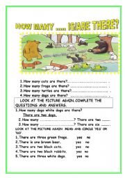 English Worksheet:  HOW MANY IS THERE-ARE THERE?