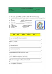 English Worksheets: Worksheet on Adectives & Question Words