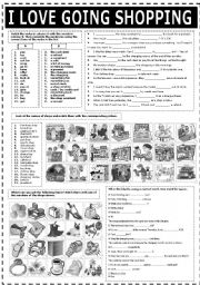 English Worksheets: I LOVE GOING SHOPPING (B&W)