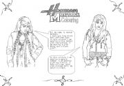 English Worksheets: Colour Hannah Montana!