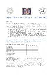 English Worksheet: The signs of Zodiac - The Truth or Just a Stereotype