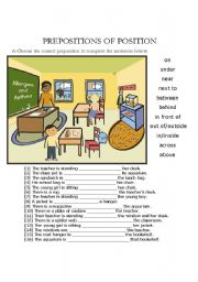 English Worksheet: Prepositions of Position (on, under, behing, under etc.)