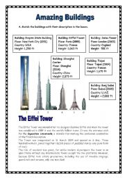 English Worksheet: Amazing buildings in the world (15.03.09)