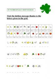 English Worksheet: St Patrick�s cryptogram