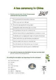 English Worksheet: Tea ceremony in China