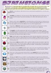 English Worksheet: BIRTHSTONES! - READING + YOUR BIRTHSTONE PERSONALITY QUIZ (2 pages)