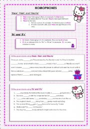 English Worksheets: �there�, �their�, �they�re� , �its� and �it�s�