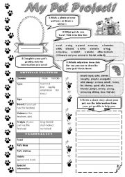 English Worksheets: MY PET PROJECT! -  describing a pet worksheet ( writing activity )