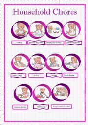 English Worksheet: Household chores pictionary