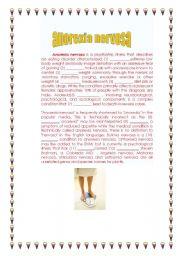 English Worksheet: ANOREXIA NERVOSA