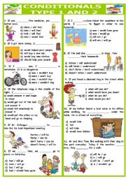 English Worksheets: CONDITIONALS TEST ( TYPE 1 AND 2 )