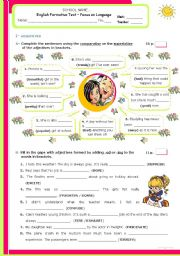English Worksheet: Grammar Formative Test for Advanced and/Or upper Intermediate students