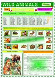 English Worksheet: WILD ANIMALS OR WHO LIVES IN THE WOOD