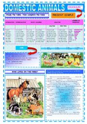 English Worksheets: Domestic animals or Who lives on the farm