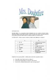 English Worksheets: MRS. DOUBTFIRE VIDEO LESSON