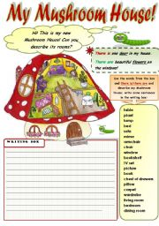 English Worksheet: MY MUSHROOM HOUSE! - THERE IS/THERE ARE WRITING PRACTICE + FURNITURE VOCABULARY  (B&W version included)