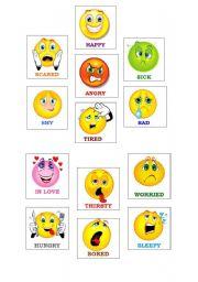 English Worksheet: Flashcards with emotions