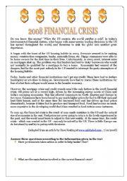 English Worksheets: 2008 FINANCIAL CRISIS