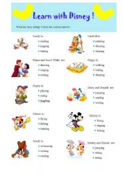 English Worksheet: Present Continuous practice with Disney fairy-tales