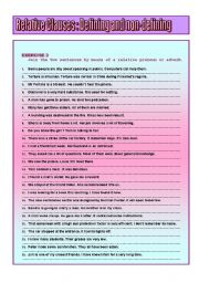 English Worksheets:  RELATIVE CLAUSES : defining and non-defining ( Part II )