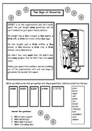 English Worksheet: Quantifiers: A FEW, A LITTLE, SOME, MUCH, MANY