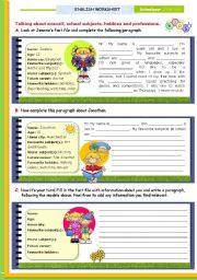 English Worksheet: Writing series  -  (1)  -  Writing about oneself: Personal information, school subjects, hobbies and future careers for upper elementary and Lower Intermediate students