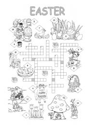 photo regarding Easter Crossword Puzzles Printable named Easter crossword - ESL worksheet through silvanija