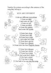 English Worksheet: Great song worsksheet for kids with pictures!!! MP3 FILE available at request.