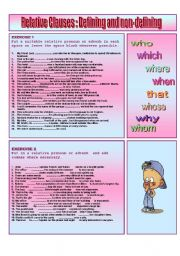 English Worksheets:  RELATIVE CLAUSES : Defining and non -defining