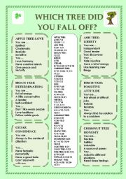 English Worksheet: WHICH TREE DID YOU FALL OFF? HOROSCOPES