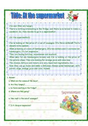 English Worksheet: Text: At the supermarket