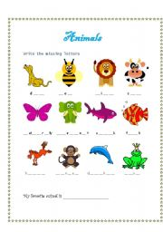 English Worksheets: ANIMALS (write the missing letters)