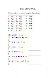 English worksheet: Days of the week - funny code