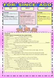 English Worksheets: GRAMMAR WORKSHEET - FOR, SINCE and AGO