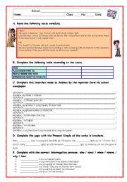 English Worksheets: READING COMPREHENSION TEST-REVISION